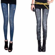 ขาย ผู้หญิงใส่กางเกงยืดสกินนี่ยีนส์ เลกกิ้ง สีฟ้า และ สีดำ Free Size ราคาถูกที่สุด