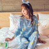 ขาย เสื้อและกางเกงนอนแขนยาวผู้หญิง ผ้าคอตตอน สีหวาน สไตล์เกาหลี แขนยาว Bluemoon แขนยาว Bluemoon ออนไลน์ ฮ่องกง