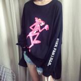 ซื้อ หัวใจเกาหลีหญิงแขนยาวเสื้อ Bottoming เสื้อยืด Pink Panther สีดำ Unbranded Generic ออนไลน์
