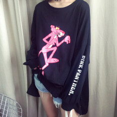 ราคา หัวใจเกาหลีหญิงแขนยาวเสื้อ Bottoming เสื้อยืด Pink Panther สีดำ ใน ฮ่องกง