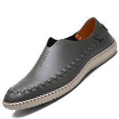 ขาย Pinsv รองเท้าหนังแท้ผู้ชายรองเท้ารองเท้าส้นเตารีดรองเท้าส้นเตารีด สีเทา สนามบินนานาชาติ เป็นต้นฉบับ