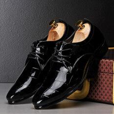 ราคา Pinsv รองเท้าหนังลำลองชายสุภาพรองเท้าออกซฟอร์ด สีดำ Pinsv ออนไลน์