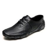 ส่วนลด Pinsv ธุรกิจรองเท้าหนังแท้มนุษย์หายใจ สีดำ