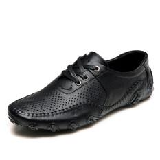 ขาย ซื้อ ออนไลน์ Pinsv ธุรกิจรองเท้าหนังแท้มนุษย์หายใจ สีดำ