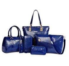 ราคา แพคเกจ Pip แฟชั่นกระเป๋าถุงใหญ่ลายจระเข้เพศหญิง น้ำเงิน ใหม่ ถูก