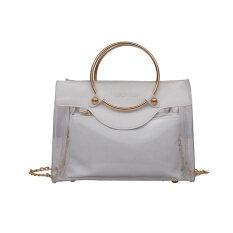 กระเป๋าถือกระเป๋าเกาหลีโปร่งใสฤดูร้อนใหม่ สีขาว เป็นต้นฉบับ