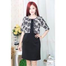 ราคา Pitchaya ชุดเดรสสีดำตัวเสื้อเย็บแบบกั๊กลายกุหลาบ แขนศอก ซิปหลัง De570 ขาวลายดำ Thailand