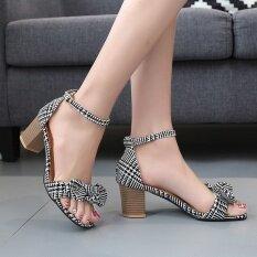 ซื้อ Plaid Retro Coarse Solid Bow Fish Mouth Sandals Heels Heel Retro Women S Shoes Intl ถูก ใน จีน