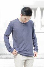 ราคา Plain Color Button Neck Long Sleeved T Shirt เสื้อยืด Purple Grey Unbranded Generic ใหม่