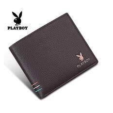 Playboy กระเป๋าสตางค์หนังคุณภาพ สีน้ำตาลเข้ม ถูก