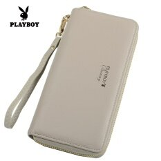 ขาย Playboy กระเป๋าสตางค์หญิง หนัง ทรงยาว สไตล์เกาหลี สีเทา สีเทา ฮ่องกง ถูก