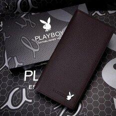 Playboy กระเป๋าสตางค์หนังแท้คุณภาพดี สีน้ำตาลเข้ม ถูก