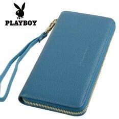 ส่วนลด กระเป๋าถือแบบซิปรอบของผู้หญิง ยี่ห้อPlayboy สีฟ้า สีฟ้า ฮ่องกง