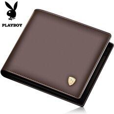 ทบทวน ที่สุด Playboy กระเป๋าสตางค์ ผู้ชาย แบบสั้น หนังวัว สไตล์นักธุรกิจ สีกาแฟ สีกาแฟ