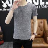 ราคา Playboy เสื้อยืดคอกลมชาย แขนสั้น ไซส์ใหญ่ สไตล์เกาหลี 718 รอบคอ สีเทา 718 รอบคอ สีเทา ถูก