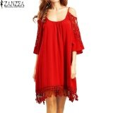 ซื้อ Plus Size S 5Xl Zanzea Women Off Shoulder Casual Loose Tops Shirt Summer Lace Crochet Hollow Out Party Beach Mini Dress Vestido Red Intl ถูก