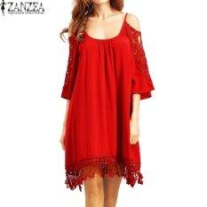 ทบทวน ที่สุด Plus Size S 5Xl Zanzea Women Off Shoulder Casual Loose Tops Shirt Summer Lace Crochet Hollow Out Party Beach Mini Dress Vestido Red Intl