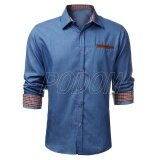ราคา Podom Mens Slim Fit Long Sleeve Denim Casual Vintage Plain Shirt Light Blue ใหม่