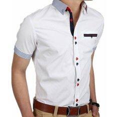 ขาย Podom ผู้ชายบางพอดีเสื้อเชิ๊ตแขนสั้นธุรกิจอย่างเป็นทางการเสื้อยืดเสื้อยืดสีขาว เป็นต้นฉบับ