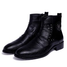 Pointed Men S Fashion Formal Leather Boots Ankle Boots Business Shoes เป็นต้นฉบับ