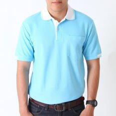 ส่วนลด Polomaker เสื้อโปโล Kanekotk Pk021 สีฟ้าสว่างปกขาว Male