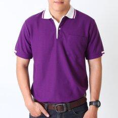 ซื้อ Polomaker เสื้อโปโล Kanekotk Pk078 สีม่วงเข้มปกขาว Male ถูก ใน กรุงเทพมหานคร