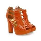 ทบทวน ป๊อปหนังเทียมรองเท้าส้นสูงรองเท้าผู้หญิงแพลตฟอร์ม Peep นิ้วเท้ารองเท้า Oo55 สีส้ม นานาชาติ นานาชาติ Unbranded Generic
