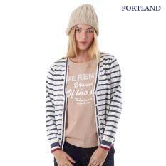 Portland เสื้อแจ๊คเก็ต คอตตอน ลายริ้ว แขนยาว สีกรมท่า ใหม่ล่าสุด