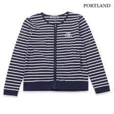 ซื้อ Portland เสื้อแจ๊คเก็ต คอตตอน ลายริ้ว แขนยาว สีกรมท่า Portland ออนไลน์