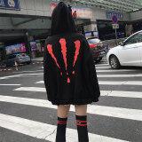 ซื้อ ออลจังหญิงใหม่ส่วนยาวคลุมด้วยผ้าเสื้อกันหนาว สีแดงและสีดำ