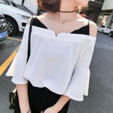 ส่วนลด เสื้อคลุมฤดูใบไม้ผลิและฤดูร้อนเสื้อชีฟองใหม่ปลอมสองสลิง สีขาว ฮ่องกง