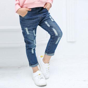 Review กางเกงยีนส์ขายาว มีรู สำหรับเด็ก สไตล์เกาหลี 2-5-6-7 ขวบ