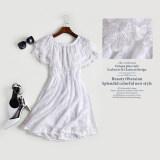 ซื้อ เกาหลีหญิงใหม่ปกกระโปรงชุดเจ้าหญิงสีขาวชุดลูกไม้ สีขาว ใหม่ล่าสุด