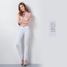 ขาย ลูกอมสีฟุตกางเกงเกาหลีกางเกงขายาวสีหญิง Bottoming สีขาว ฮ่องกง ถูก