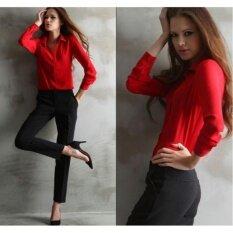 ราคา ชีฟองคอลำลองหลวมแขนยาวสตรีใหม่ Shirttop เสื้อเสื้อยืด สีแดง ใหม่