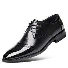 ราคา รองเท้าอังกฤษรองเท้าสีดำระบายอากาศฤดูใบไม้ผลิ สิทธิบัตรหนังสีดำ Unbranded Generic ใหม่