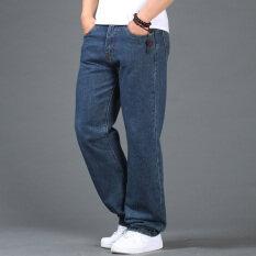 โปรโมชั่น ฤดูใบไม้ร่วงและฤดูหนาวชายคนอ้วนกางเกงยีนส์เอวสูงผ้ายีนส์กางเกง สีน้ำเงินเข้ม ถูก