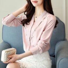 เสื้อเชิ้ต ผ้าชีฟองของผู้หญิง แต่งลูกปัด สีขาว สีชมพู สีขาว สีขาว ใน ฮ่องกง