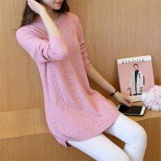 ซื้อ เสื้อกันหนาวแฟชั่นเสื้อกันหนาวแขนยาวหญิงเสื้อสวมหัว สีชมพู ออนไลน์