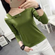 ซื้อ ฤดูใบไม้ร่วงใหม่แฟชั่นเสื้อยืดที่ไม่มีสายหนังเสื้อยืด สีเขียว ถูก ใน ฮ่องกง