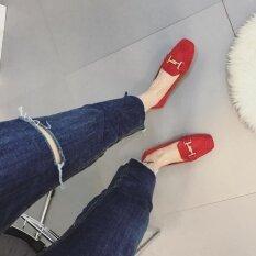 ขาย ซื้อ ยุโรปและอเมริกาลมหนังนิ่มโลหะสิ่งทอลายทแยงแบนรองเท้าหัวตารางของผู้หญิง สีแดง