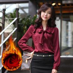 ซื้อ เกาหลีหญิงแขนยาวโบว์ชีฟองเสื้อสวมใส่เสื้อ ม่วง วรรค บวกกำมะหยี่ Unbranded Generic