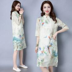 ขาย สไตล์จีนชุดเดรสผ้าไหมฤดูใบไม้ผลิและฤดูร้อนใหม่เลียนแบบ สี