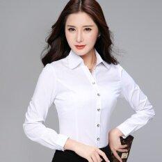 ขาย ฮันสีขาวหญิงแขนยาวเสื้อเชิ้ตสีขาวอาชีพเสื้อ สีขาว Unbranded Generic ออนไลน์
