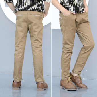 กางเกงลำลองฤดูใบไม้ผลิและฤดูใบไม้ร่วงใหม่เด็กชาย (สีน้ำตาลลายสก๊อต-สบายๆกางเกง)