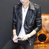 ขาย เกาหลีฤดูใบไม้ผลิและฤดูใบไม้ร่วงใหม่หล่อหนังแจ็คเก็ตบางส่วนเสื้อ สีดำ