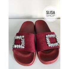 ส่วนลด รองเท้าเเตะ ติดอะไหล่เพชร สีเเดง Unbranded Generie ใน กรุงเทพมหานคร