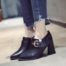 ฤดูใบไม้ผลิใหม่หญิงชี้รองเท้ารองเท้าส้นสูง สีดำ ใน ฮ่องกง