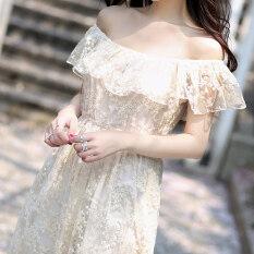 ราคา นางฟ้าชายหาดปักโครเชต์ลูกไม้ชุดชุด สีขาวสามัญ ลูกไม้ ใหม่ ถูก