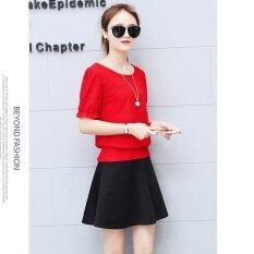 ขาย Le Zi เสื้อแขนยาวหญิง ลูกไม้เพิ่มกำมะหยี่ สไตล์เกาหลี แขนสั้นแขนสั้นสีแดงเสื้อยืด สร้อยคอส่ง แขนสั้นแขนสั้นสีแดงเสื้อยืด สร้อยคอส่ง